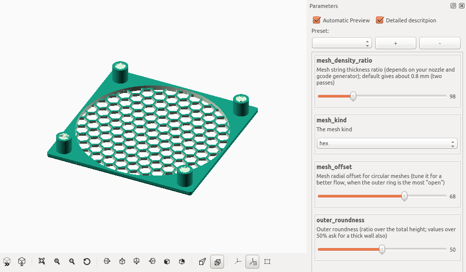OpenSCAD Customizer interface